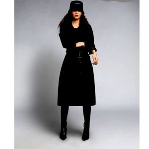 Jacob Fitted Black Medium Length Trench Coat